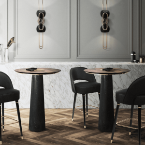 Gold Plated Brass & Polished Nero Marquina Marble & Solid Walnut Wood