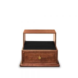Essential home brando nightstand front Polished Brass & Walnut Wood