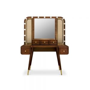 Essential home franco dressing table front Polished Brass & Walnut Wood
