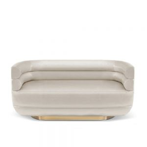 Polished Brass & Textile Marsi White