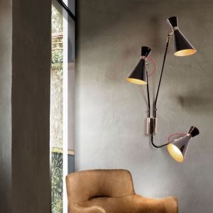 simone wall lamp Copper plated & Glossy Black