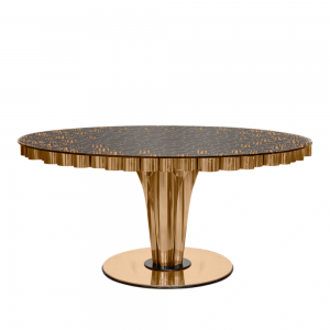 Essential Home Wormley Dining Table Polished Brass & Glass